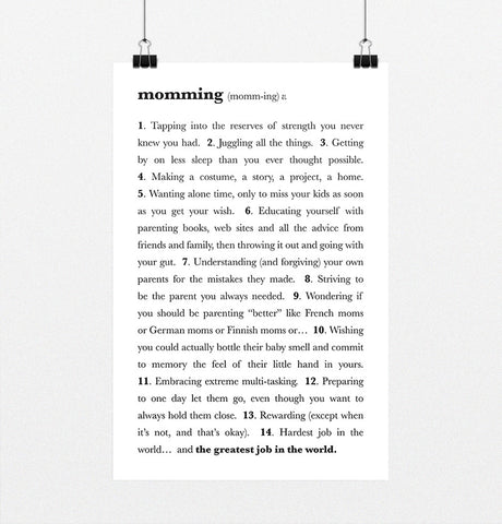 "Momming Definition - 11x17"" Poster"