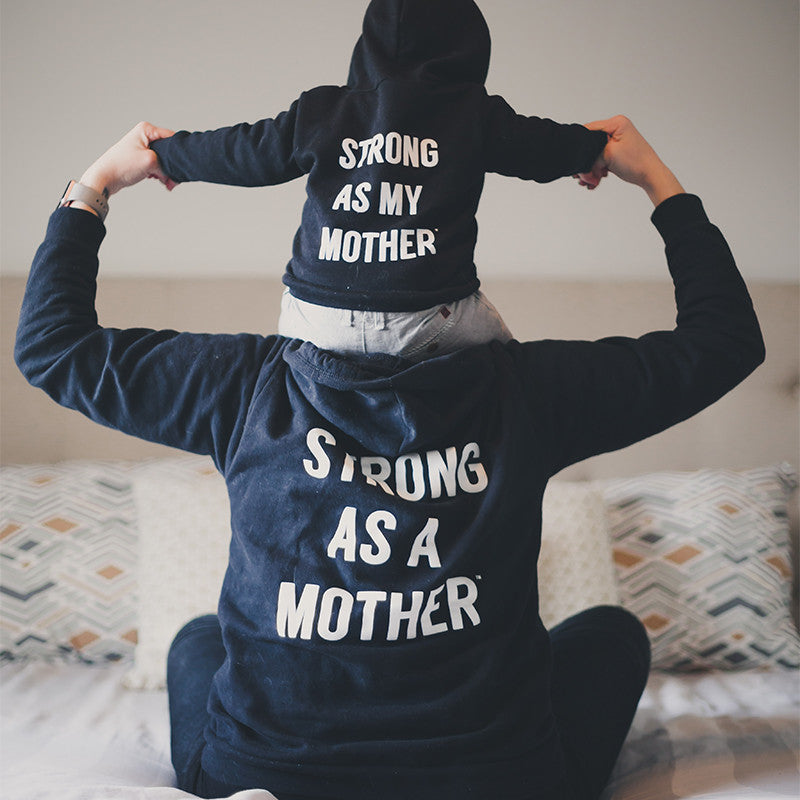 Baby Zip-Up Hoodie - Strong as my Mother - Black / White Text