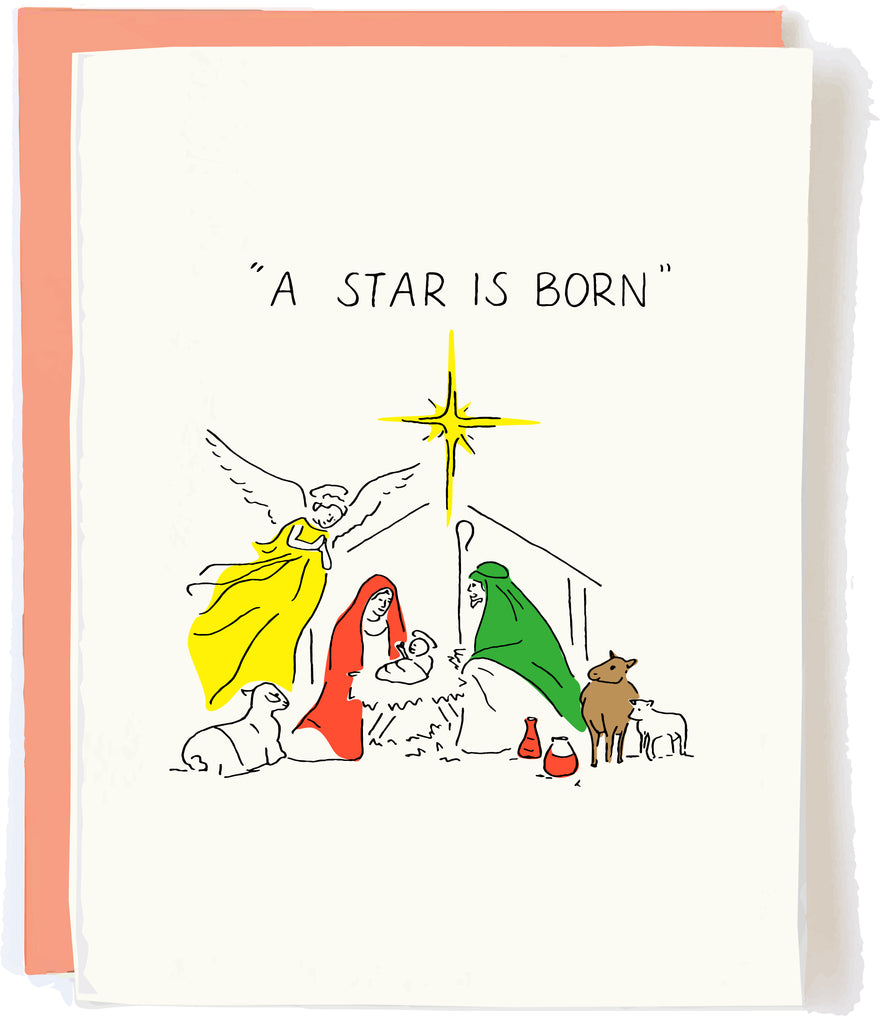A Star Is Born Nativity Christmas Card by Pop and Paper