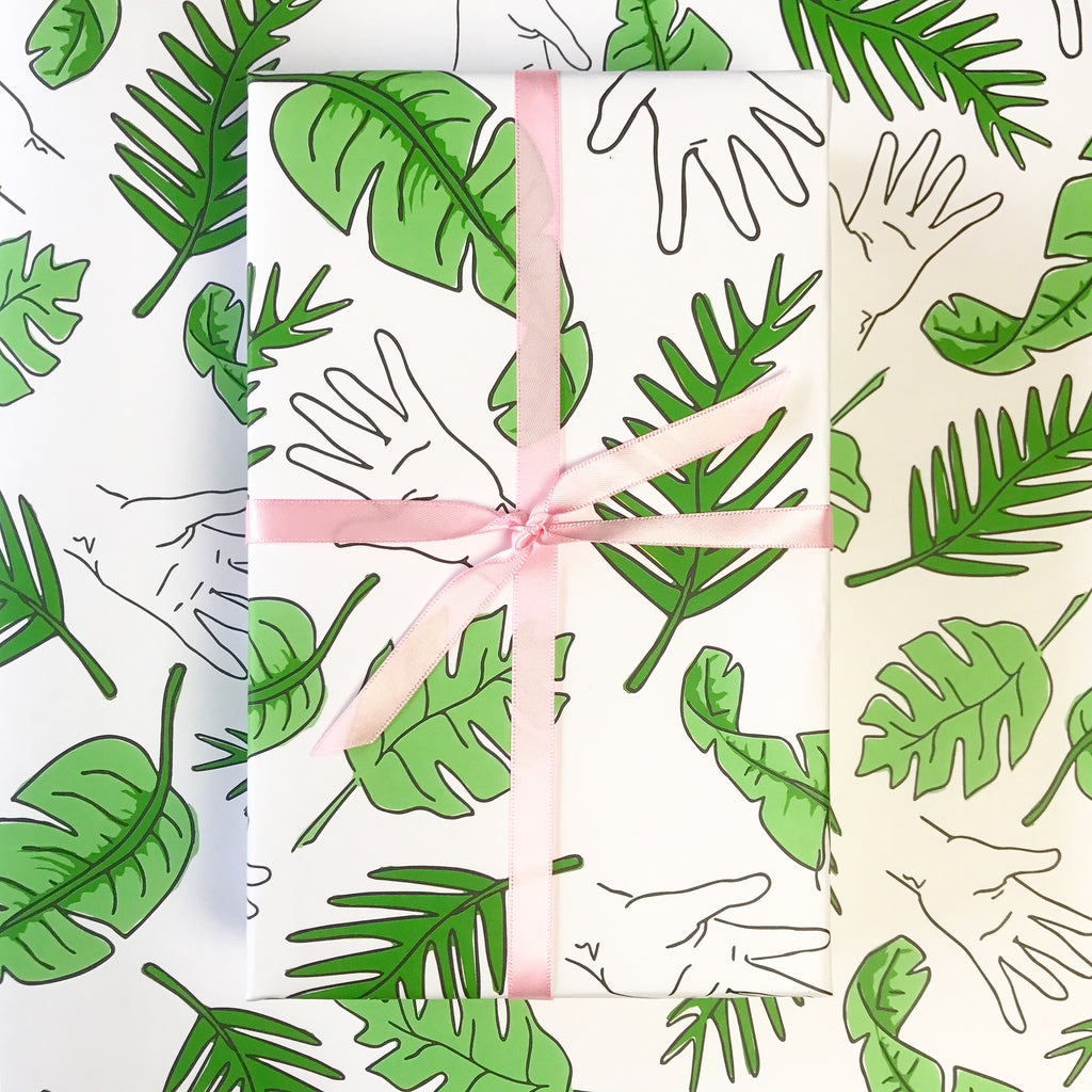 Palm Tree Print Gift Wrap by Chalkscribe