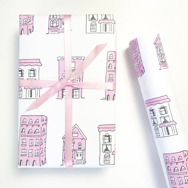 Pink Houses Gift Wrap by Chalkscribe