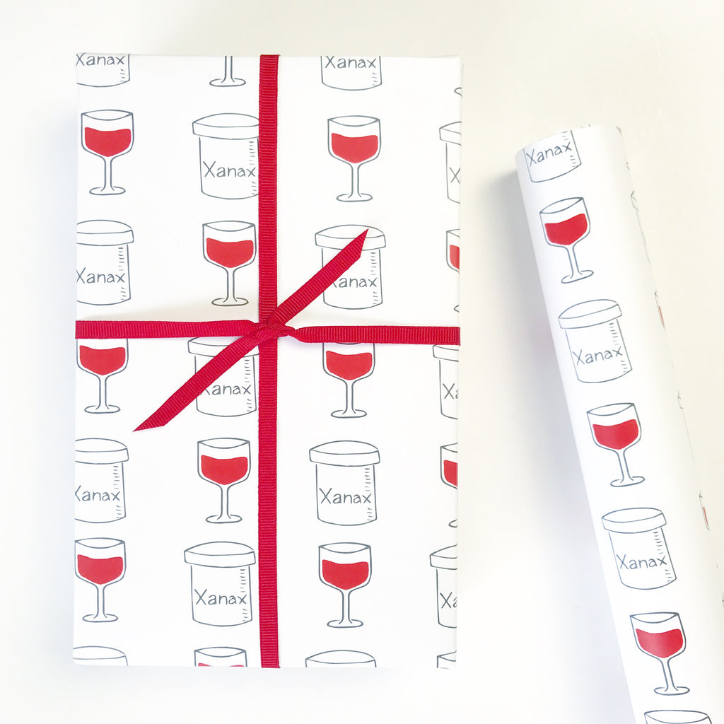 Xanax and Wine Gift Wrap by Chalkscribe