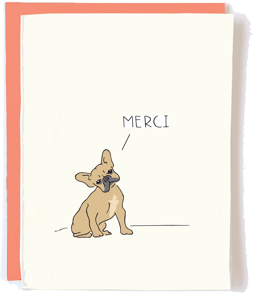 Pop and Paper Funny Thank You Card Frenchie Merci