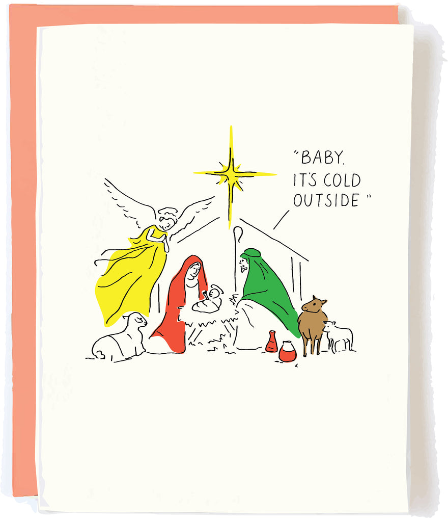 Funny Nativity Christmas card by Pop and Paper