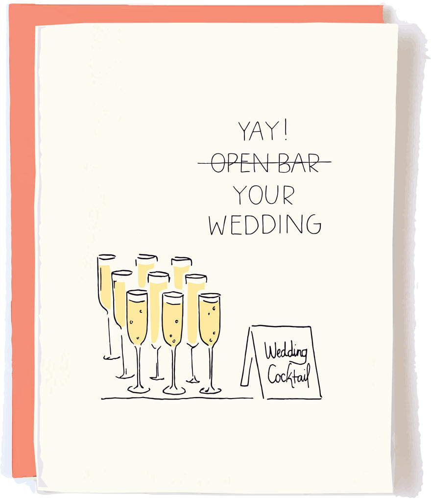 Open Bar Wedding Card by Pop + Paper