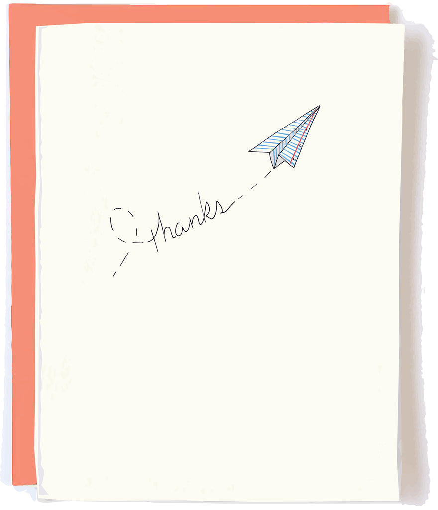 Paper Plane Thanks Card by Pop + Paper