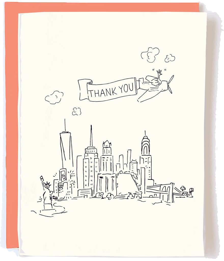 NYC Skyline Thanks Card by Pop + Paper