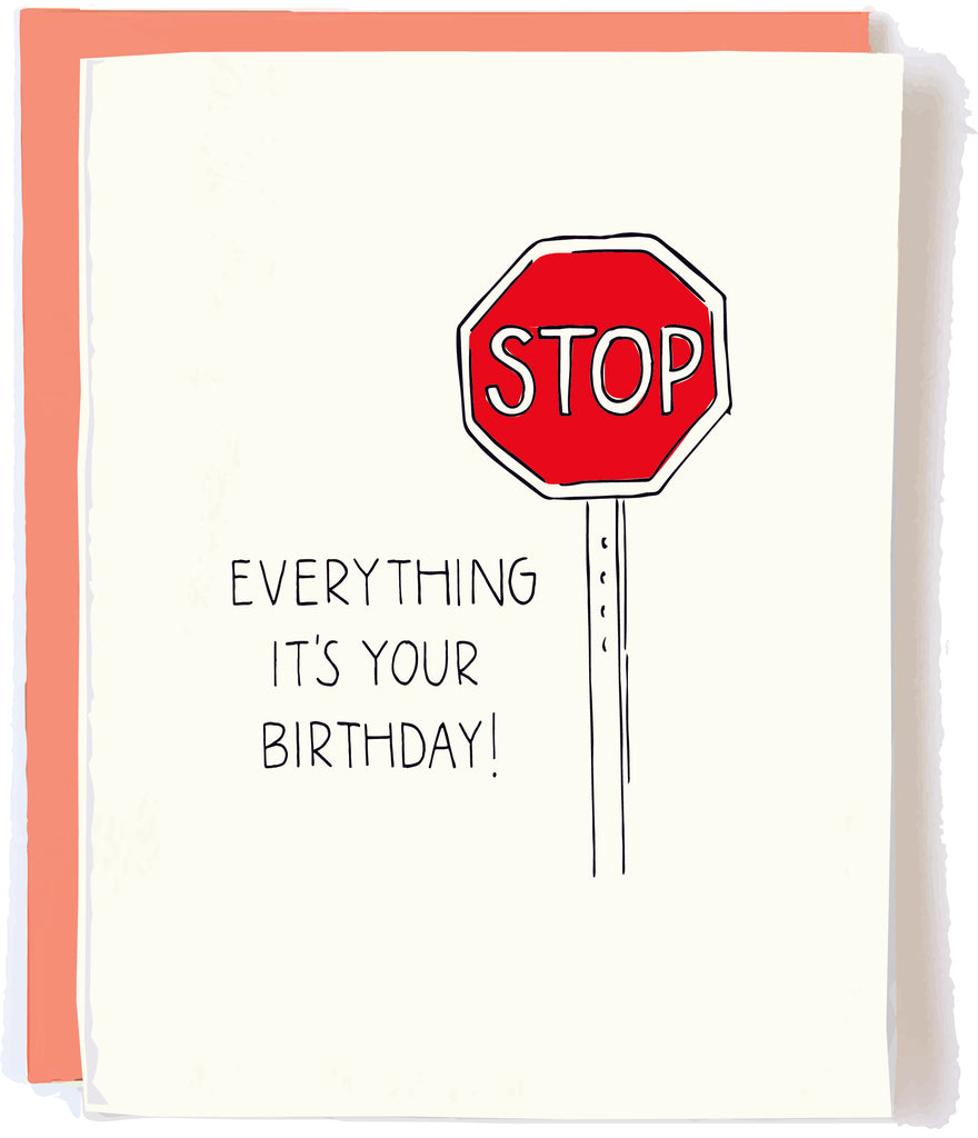 Stop Sign Birthday card by pop and paper