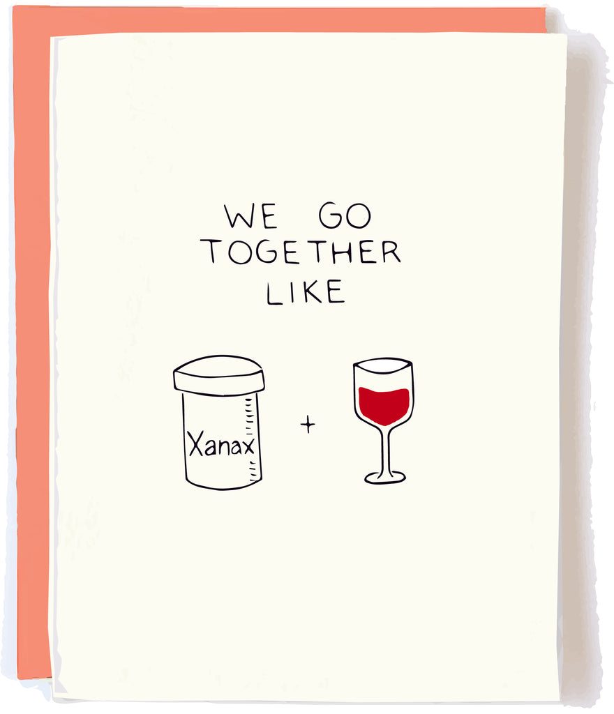 Funny Love Card Xanax Red Wine by Chalkscribe