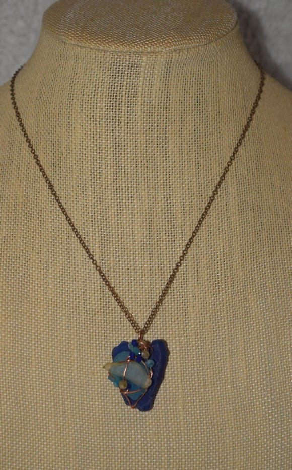 Sea Glass & Crystal Necklace