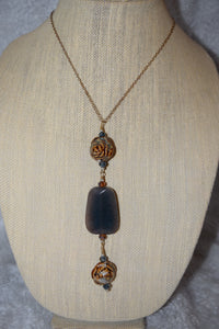 Dyed Jade & Porcelian chain necklace