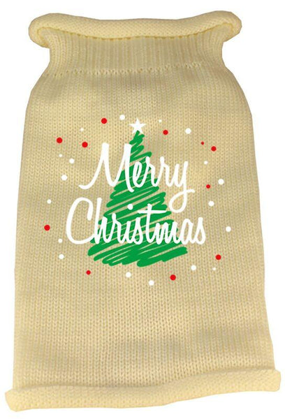 Merry Christmas Screen Print Dog Sweater - -Made in USA