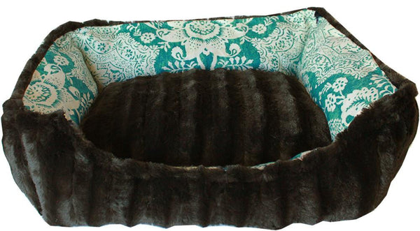 Reversible bumper Pet Bed -  finest velvety fabrics - durable cotton