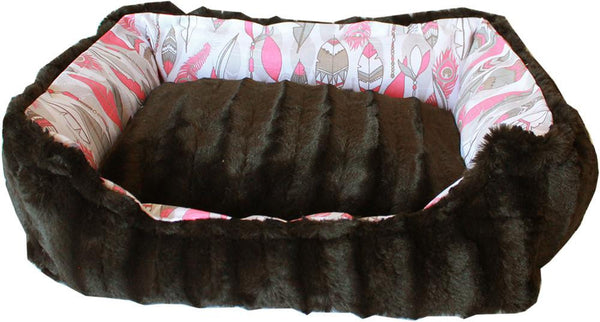 Reversible bumper style Pet Bed -  finest velvety fabrics, with durable cotton