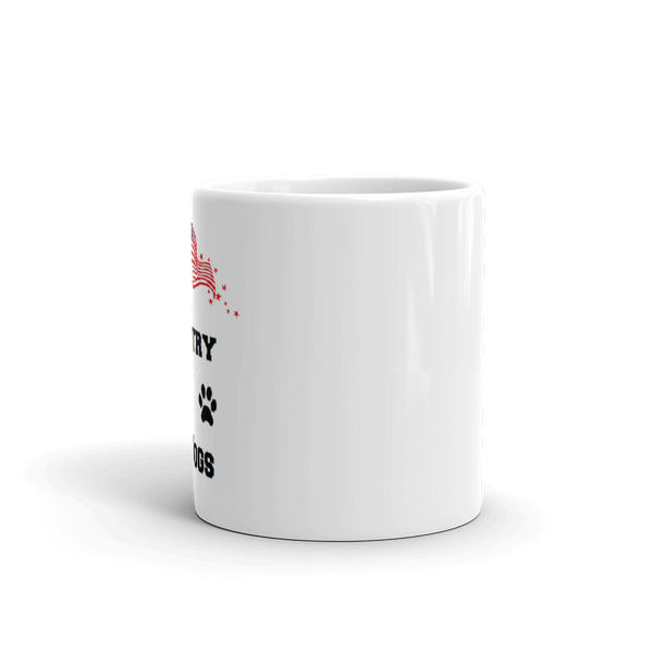 God, Country, and Dogs Mug - Sturdy, long lasting , dishwasher safe,  gleaming white ceramic