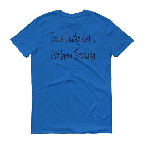 loving rescue cat saying, rescue pet lover, cat themed unisex T shirt