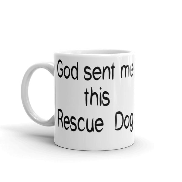 Rescue dog saying on sturdy white, glossy ceramic coffee mug