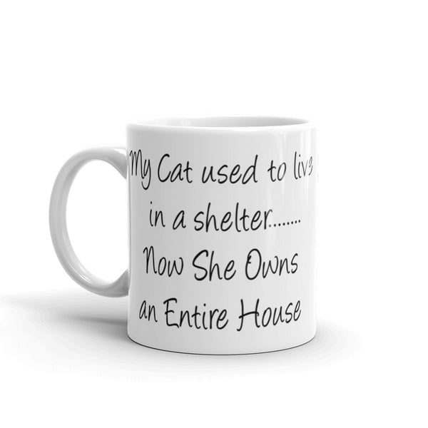 cute cat saying coffee mug - sturdy white, glossy ceramic