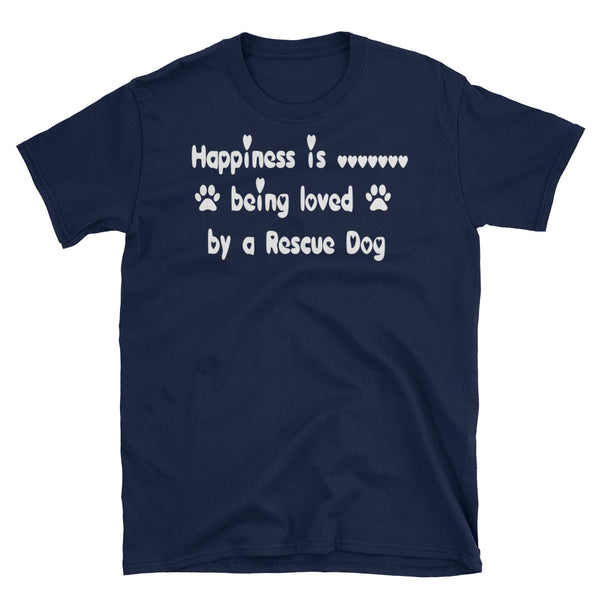Being loved by a Rescue Dog - Unisex T shirt in loveheart font