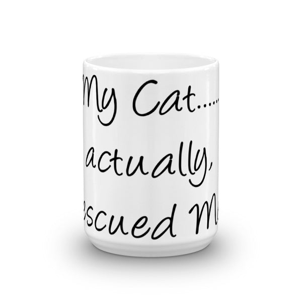 cute rescue cat themed coffee mug - glossy cat lover gift