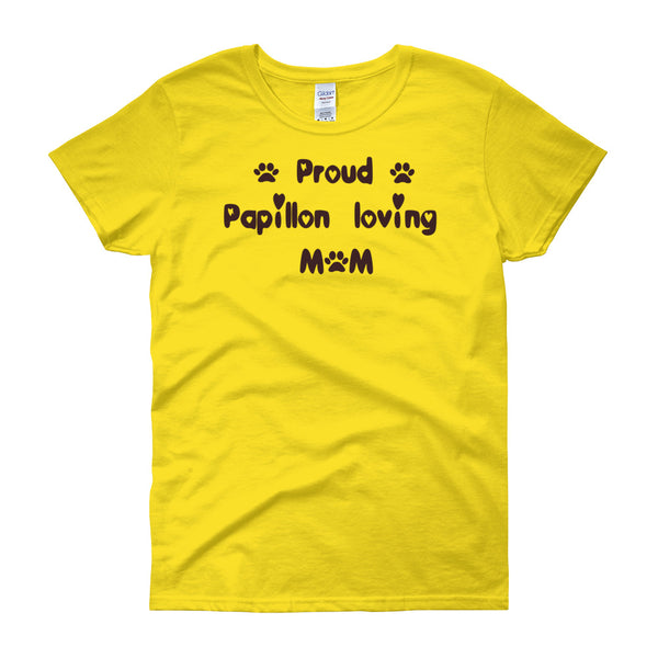 Proud Papillon loving Mom - T shirt - with paws