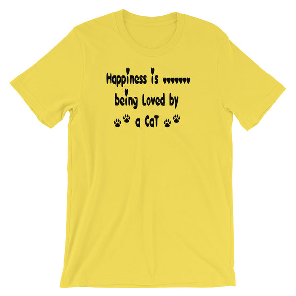 Happiness is being loved by a Cat - Cat lover gift - T shirt.