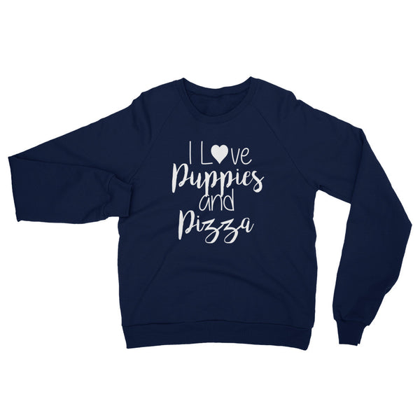 I Love Puppies & Pizza Raglan Sweater