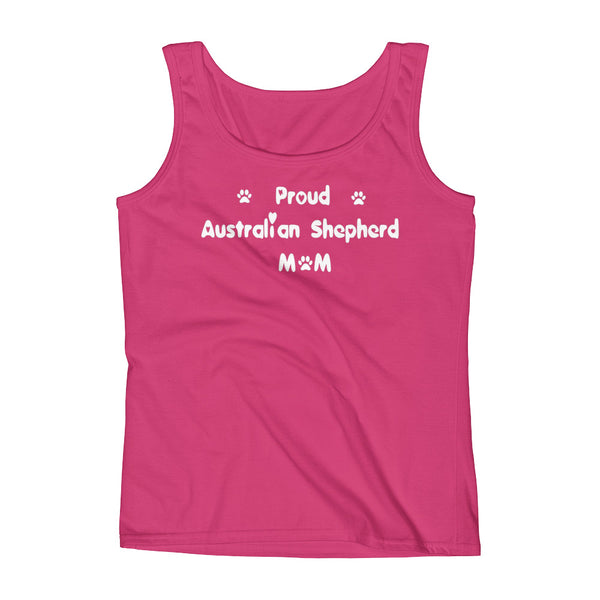 Proud Australian Shepherd Mom - Ladies' Tank in White lettering -  pre-shrunk