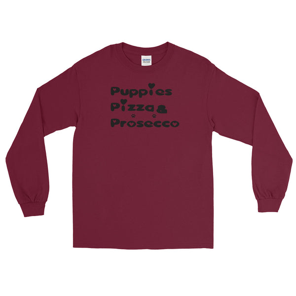 Puppies, Pizza, & Prosecco - Long Sleeve T-Shirt -  100% jersey knit  • Pre-shrunk