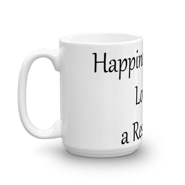 Happiness is Being Loved by Rescue Cat - Mug - sturdy white, glossy ceramic mug