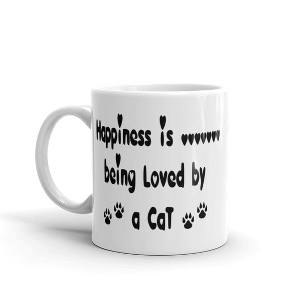 Happiness is being loved by a Cat - Cat lover gift - coffee mug