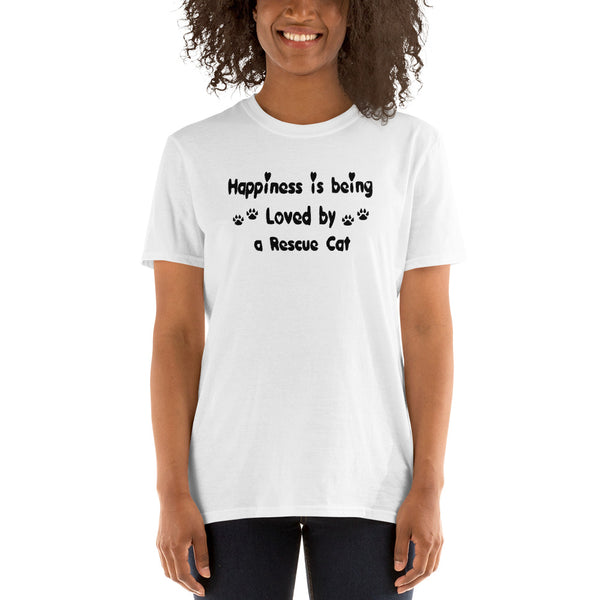 Happiness is being loved by a Rescue Cat - cat lover value Tee-Shirt