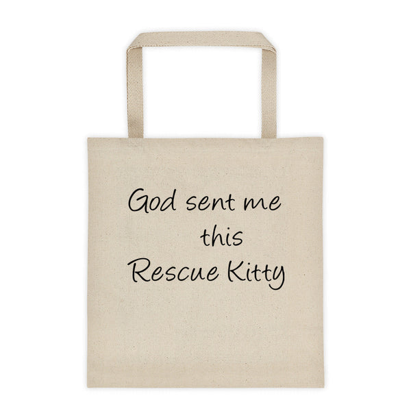 Rescue cat saying on 12 oz, 100% cotton canvas • Reinforced bottom