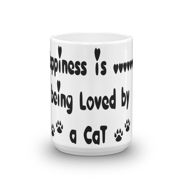 Happiness .....is being Loved by a Cat - Mug -  Ceramic • Dishwasher and microwave safe