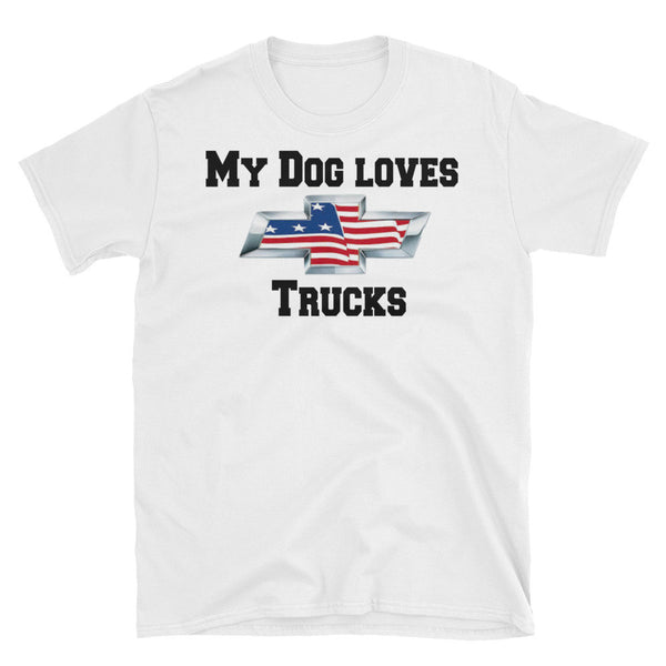 Dog loves Chevy truck logo themed  Tee shirt -gift