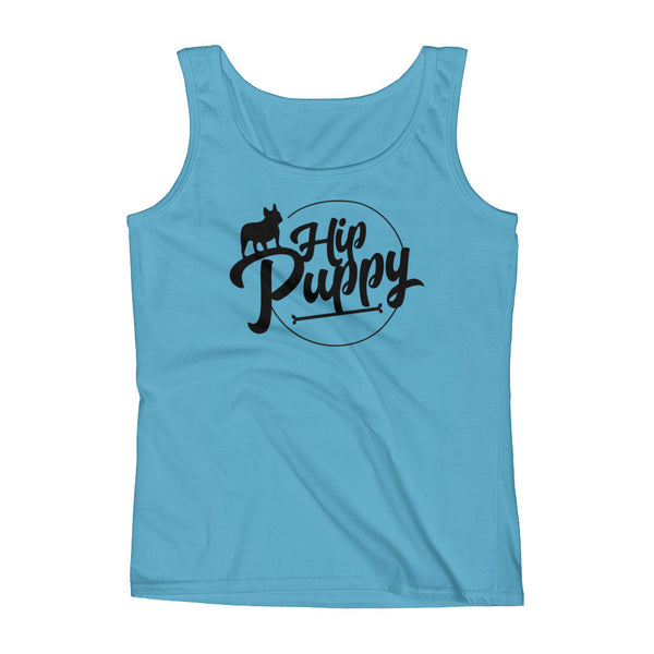 Cute, Hip Puppy designer - large logo - unique pet themed Tank top