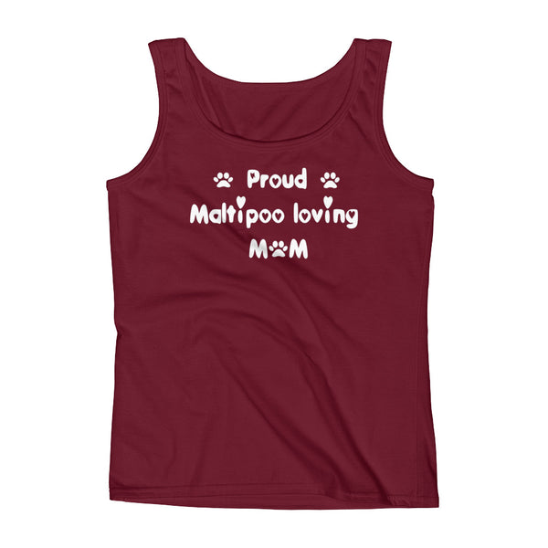 Proud Maltipoo loving Mom - Ladies' Tank in White lettering -  pre-shrunk ring-spun cotton