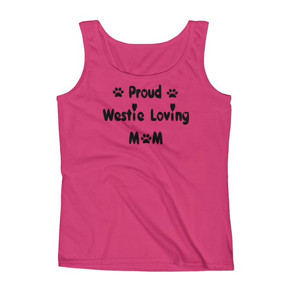 Proud Westie loving Mom -Womens Tank top shirt