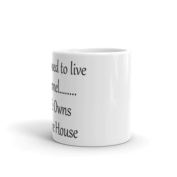 My Dog Lived In A Kennel.....Now He Owns an Entire House - Mug -  sturdy white, glossy ceramic