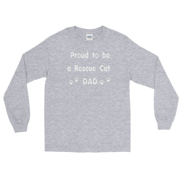 Proud to be a Rescue Cat Dad - Long Sleeve T-  100% jersey knit     • Pre-shrunk