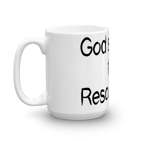 God Sent Me this Rescue Dog - Mug -  sturdy white, - Without paw prints
