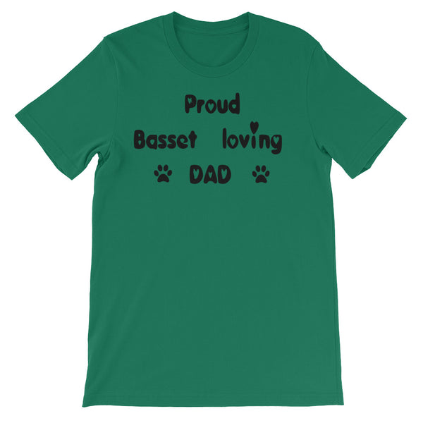Proud Basset loving DAD -  dog themed T shirt