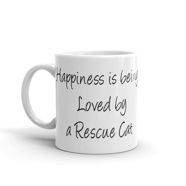 Wonderful rescue cat themed - sturdy white, glossy ceramic mug