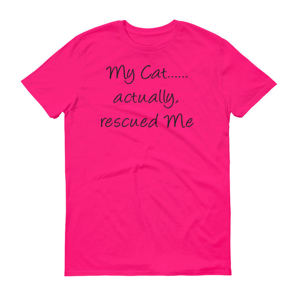 cute original rescue cat themed Tee shirt - unique cat lover gift