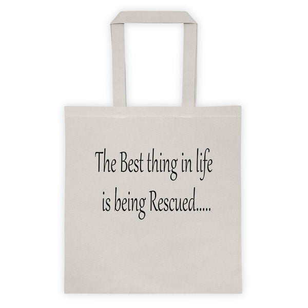 Wonderful pet saying on   6 oz, 100% cotton canvas tote