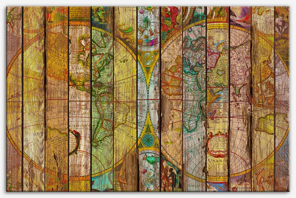 Around the World in Thirteen Maps | Reclaimed Wood Art