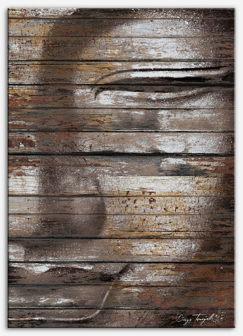 Buddha Mind - Canvas Print, reclaimed wood Industrial Art