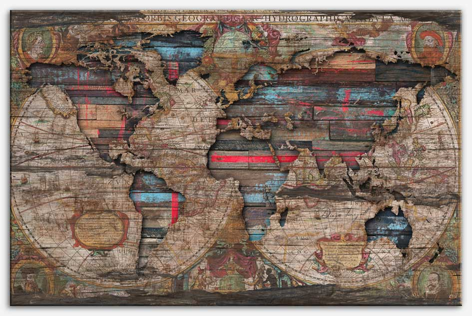 Old map distress world diego tirigall old map distress world canvas print gumiabroncs Image collections