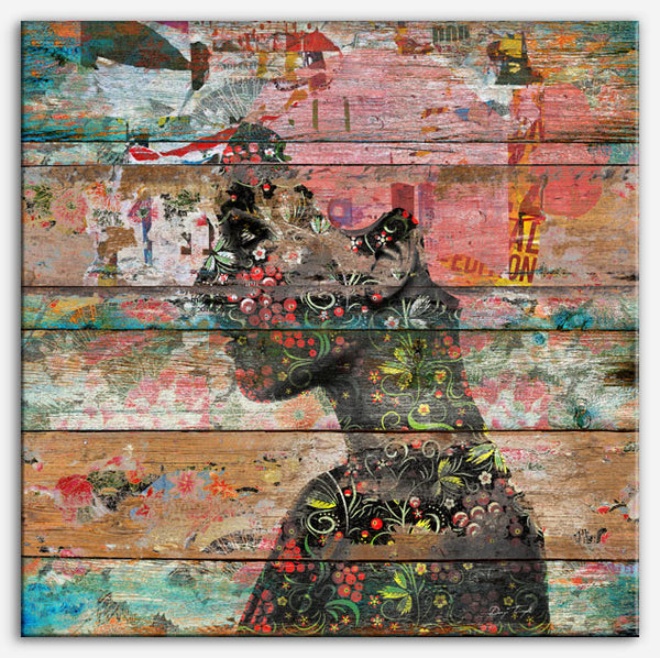 Inner Nature (Profile of Woman) | Canvas Print-Reclaimed Wood art, industrial art