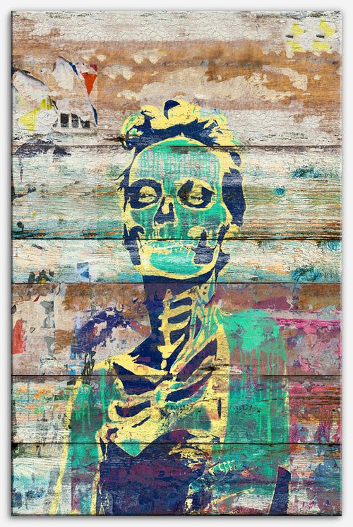Life and Dead (Sugar Skull Girl) - Canvas Print, reclaimed wood art style